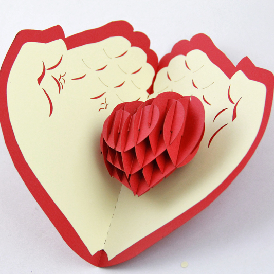 Valentine day christmas card red heart pop up card3D card