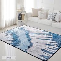 Nordic Gray Blue Carpets Living Room Bedroom Home Decor Carpet Rugs Coffee Table Rectangle Mats Kids Play Floor Mat 120X150CM