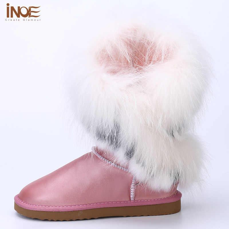 עור אמיתי אמיתי באיכות גבוהה טבע ארנב שועל פרווה גדילים לבן שלג מגפי נשים אופנה דירות חורף נעליים עמיד למים