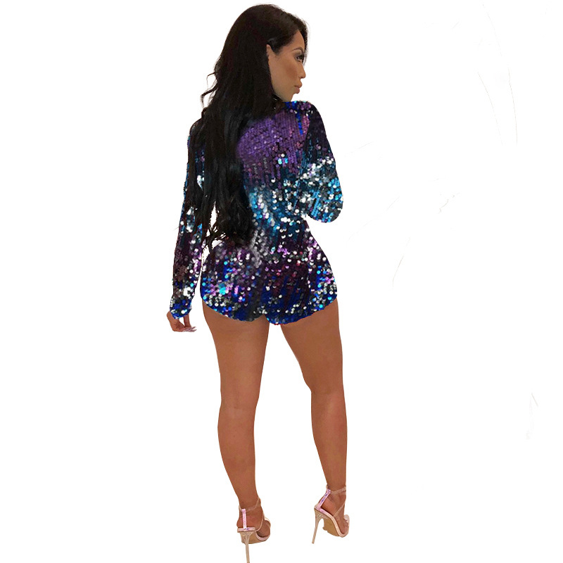 Adogirl Colorful Sequins Deep V Neck Playsuit Women Sexy Sheath Long Sleeve Night Club Party Jumpsuit Casual Overalls Rompers 65