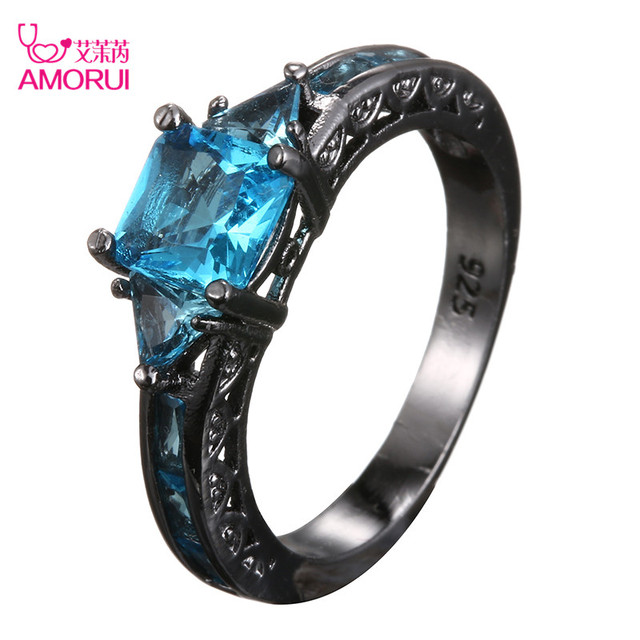 AMORUI Fashion Wedding Hollow Rings for Women Vintage Blue CZ Stone Ring Bague F