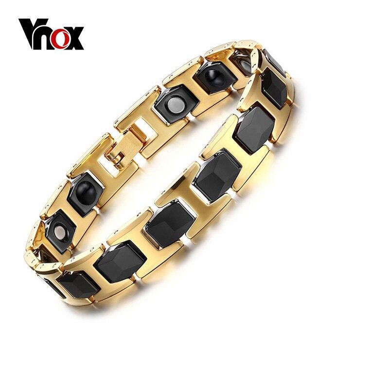 Vnox Black Ceramic & Gold-color Stainless Steel Bracelet Bangle for Men Magnet and Germanium Health Jewelry opk biker stainless steel men bracelet