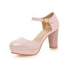 New Arrivalls Sweet Candy Colors Closed Toe Two-piece Shoes Summer Ankle Wrap Buckle Rhinestone Thick High Heels Platform Pumps