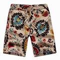 2017 Moda Verão Calções Calças de Linho Ocasionais dos homens com Teste Padrão de Flor do Mosaico Big Yards 4XL 5XL 6XL bermuda masculina curto