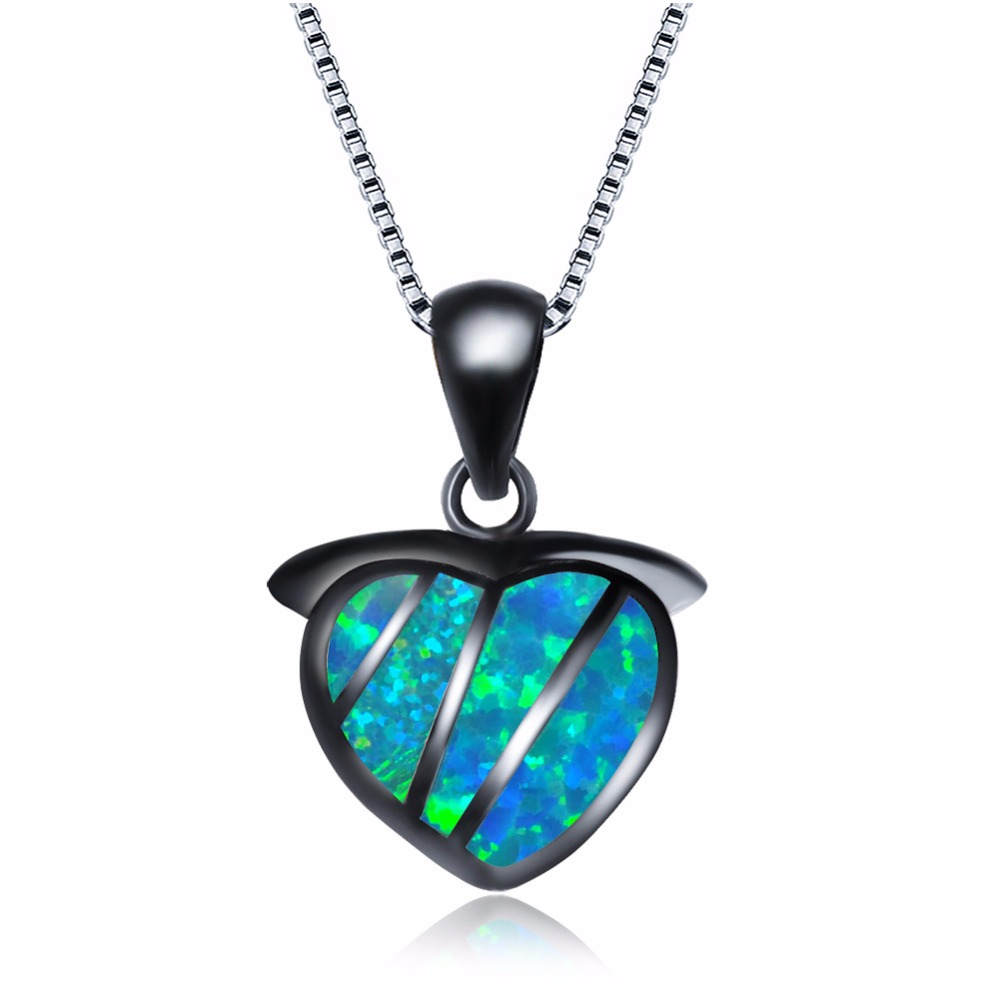 Beautiful Blue/White Fire Opal Heart Charm Necklaces Pure 925 Sterling Silver Birthday Gifts Women Necklaces