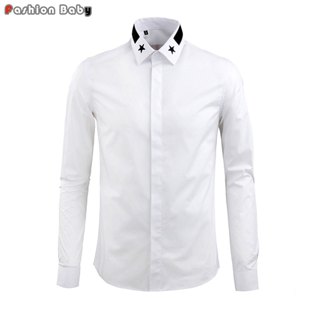 Men's Embroidery Stars Collar Cotton Party Dress Casual Shirt Fashion Long Sleeve Business Shirts White Black Army Green 2016