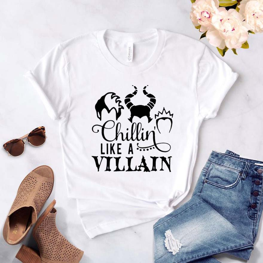 Chillin Like A Villain Women Tshirt Cotton Casual Hipster Funny T-shirt Gift Lady Yong Girl Top Tee Drop Ship ZY-292
