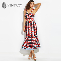 Vintacy 2017 Designer Women Mermaid Maxi Dress Bowknot Red Summer Backless Casual Dresses Vacation Spring Women
