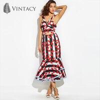 Vintacy 2018 mujeres Del Diseñador de la sirena maxi vestido Del Bowknot rojo Backless summer casual vestidos de vacaciones de primavera de las mujeres vestido de fiesta