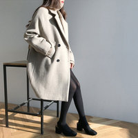 HEE GRAND Double Breasted Female Outwears Thick Long Trench Coat Women 2019 Autumn Loose Jackets Elegant OL Black Blazer WWN1210