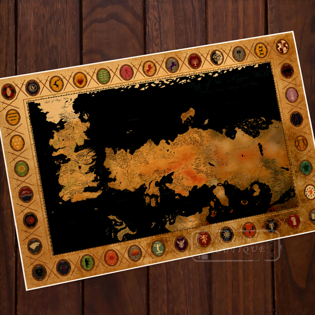 The Song of Ice and Fire Game of Thrones Map Vintage Retro ...