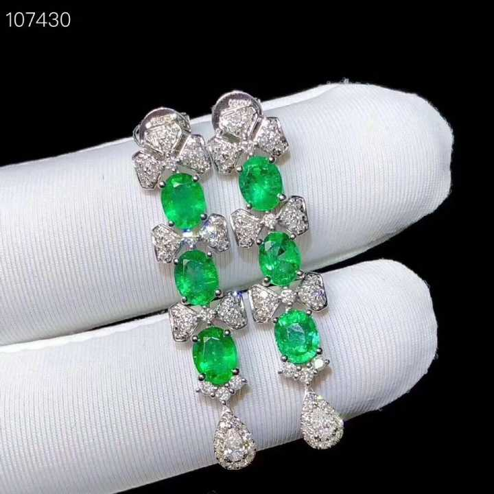 natural green emerald drop earrings 925 silver natural gemstone earrings women personality long bowknot party gift fine jewelry