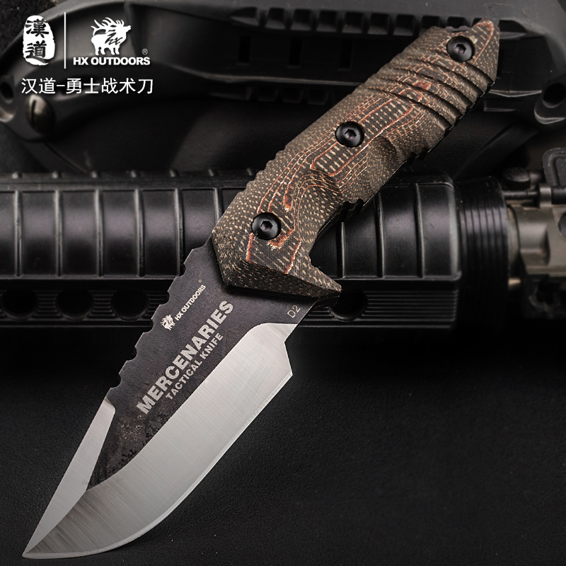 HX OUTDOORS Fixed Blade Knife 58Hrc With K Sheath Hunting Rescue Camping knives Edc Tool Survival Outdoor Tools hx outdoors high hardness straight knife aus 8 blade g10 handle outdoor survival knife multi tactical hunting knives edc tools
