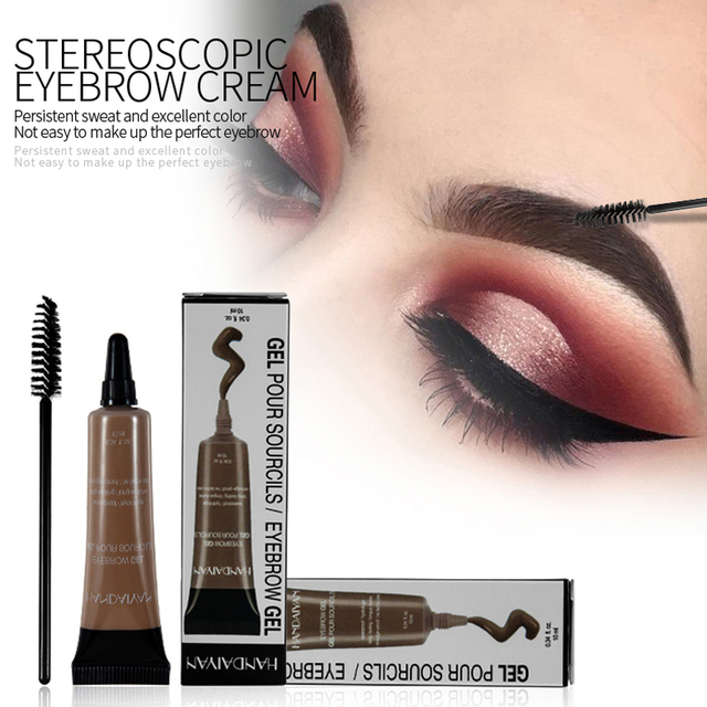 HANDANYAN Eyebrow Enhancer Makeup Henna Eyebrow Gel 6 Color Black Brown Waterproof Liquid Eye Brow Tint Brush Sets 1
