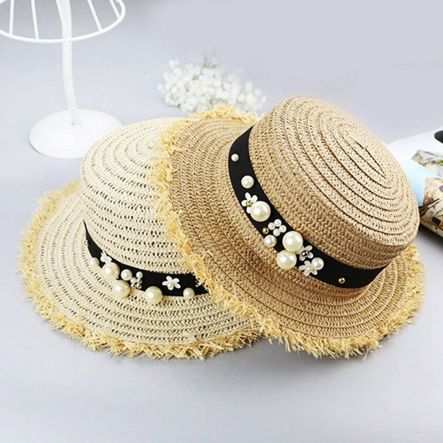 70248252815 Hot Sale+Flat top straw hat Summer Spring women s trip caps leisure pearl beach  sun