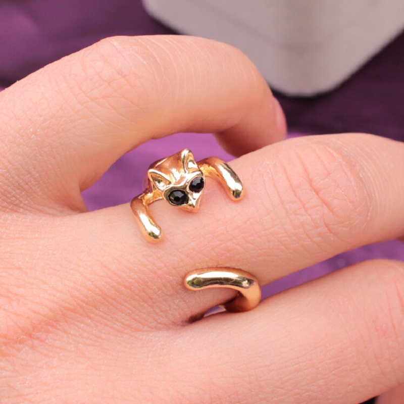 Brand 2017 Small Cat Fashion Ring Open Cute Animal Alloy Wholesale Popular Men Wholesale Ethnic Gem Rings Female