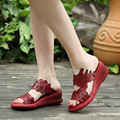 2017 Ethnic Style Peep Toes Women Slides Genuine Leather  Low Heels  Women Summer Casual Sandals
