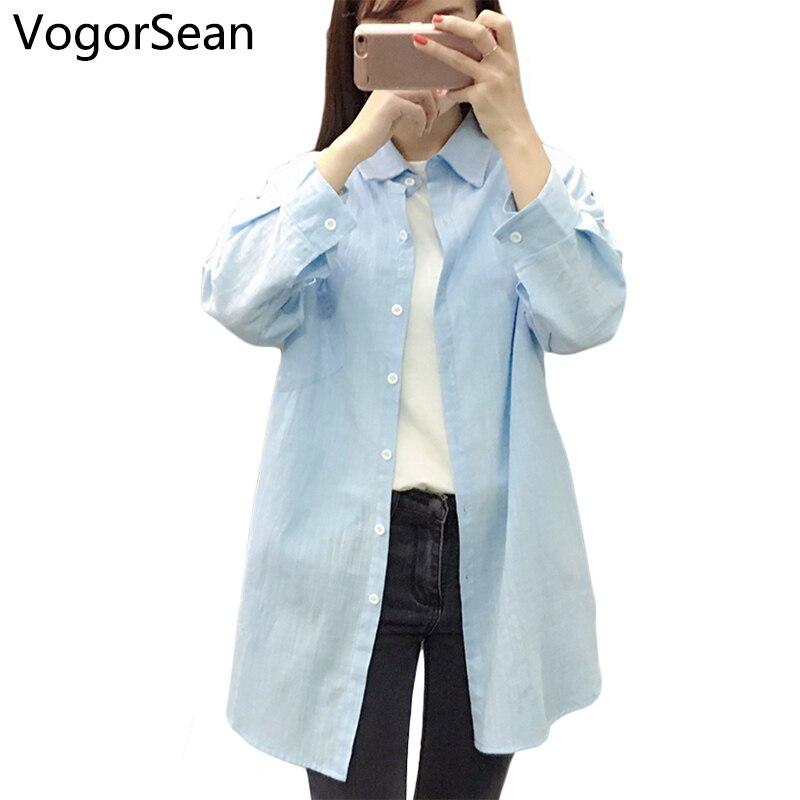 VogorSean Women Loose Style   Blouse     Shirt   Long Sleeve Casual White Camisas Blusas Woman Femininas Large   Blouse     Shirts   2018 New