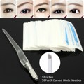 Pluma Manual Del Tatuaje PCD Ceja Conjunto Máquina Para Maquillaje Permanente 3D Con 50 unids Microblading 9R Agujas Herramienta Cuchillas Tebori Kit