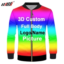 UJWI Men 3d Print Zip Jacket Custom Logo Oversized Fashion Outwear sublimation Zipper Streetwear Dropshipping Hot