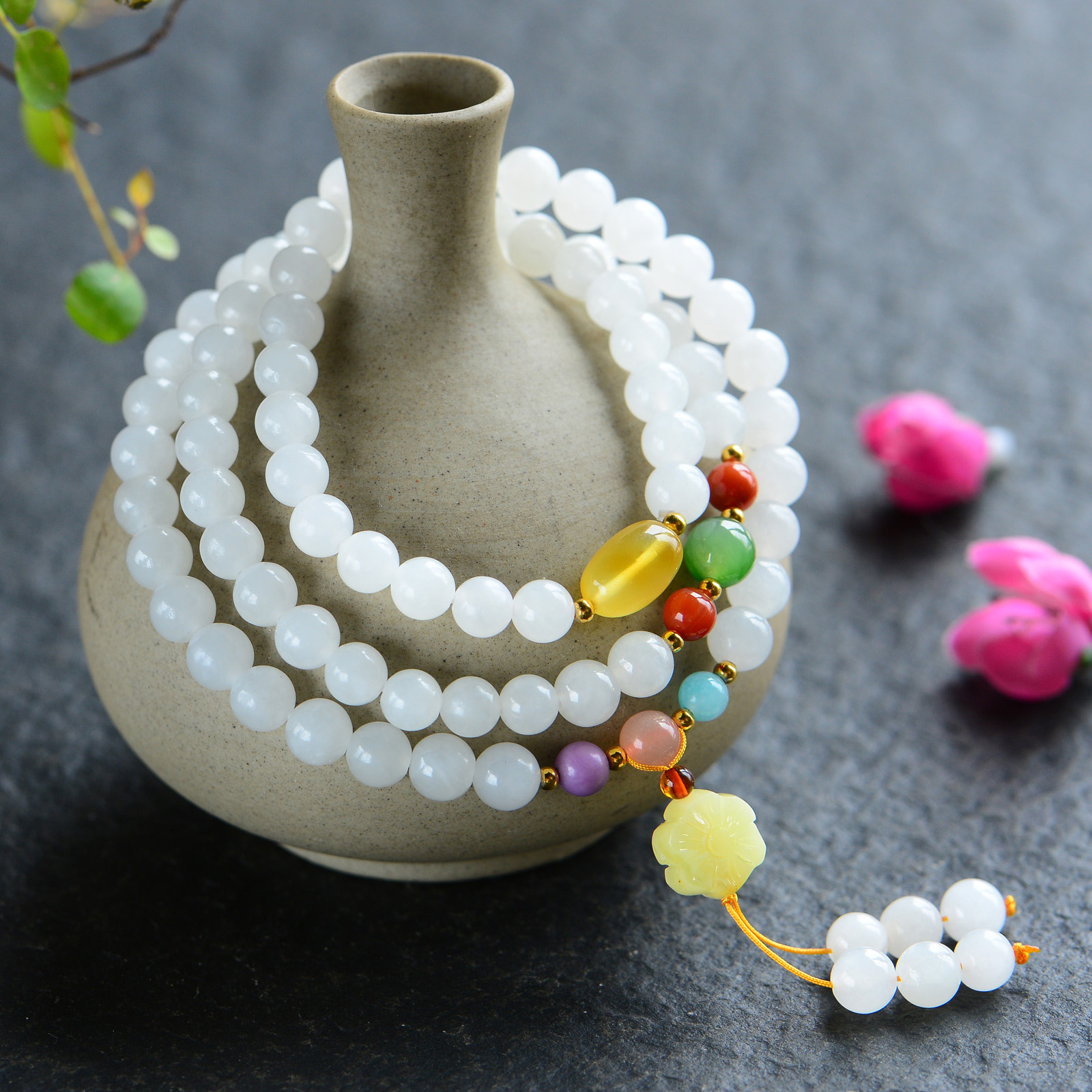 Handmade Authentic Hetian Beads Bracelets 6mm handmade authentic hetian crystal budda bracelets