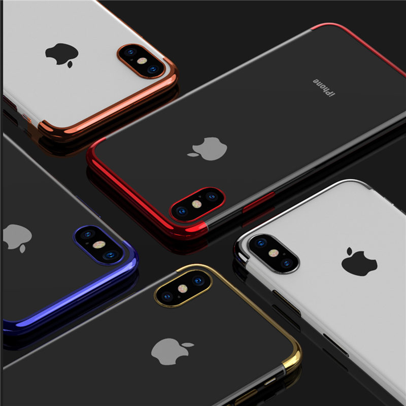 USLION Case For iPhone X XS MAX XR 6 6S 7 Plus 8 Case Plating Transparent Soft TPU For iPhone 5 5S SE Luxury Phone Case Capa
