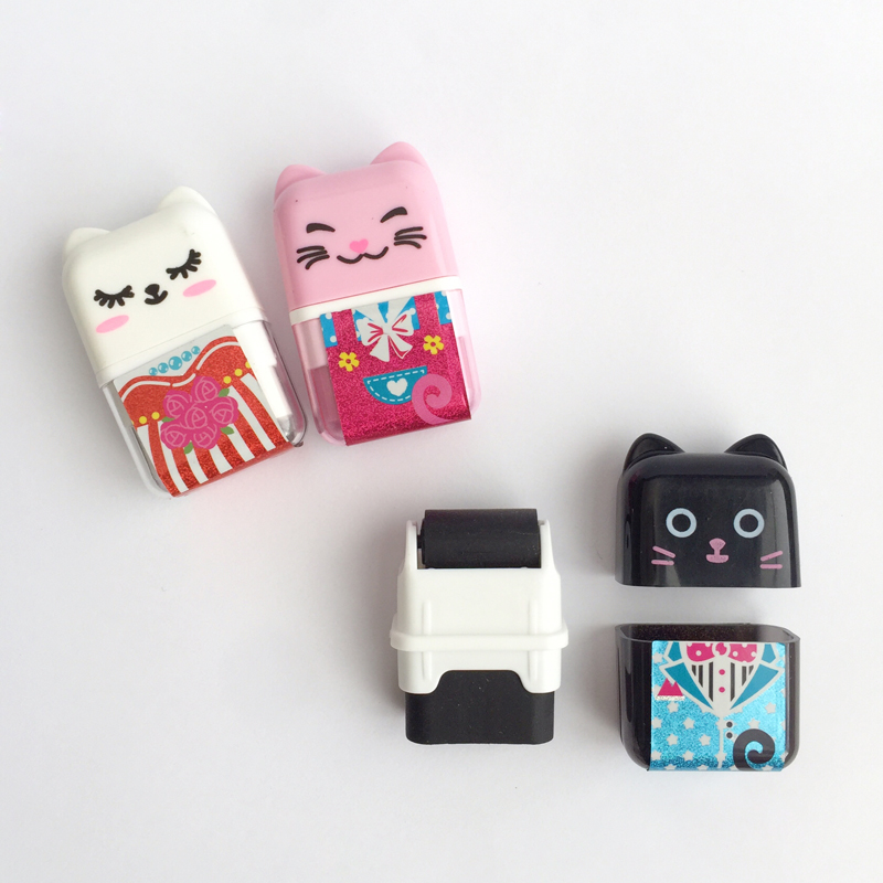 1X Kawaii Adorable Cat Kitten Roller Eraser School Supply Student Stationery Writing Drawing Correction Rubber Kids Gift