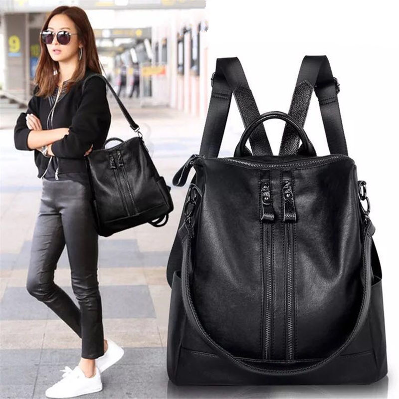 2018 new shoulder bag women's soft leather Korean version of the bag fashion wild with dual leather travel leather backpack tide new winter casual big bag korean version of the retro simple small bag wild fashion messenger shoulder messenger bag tide