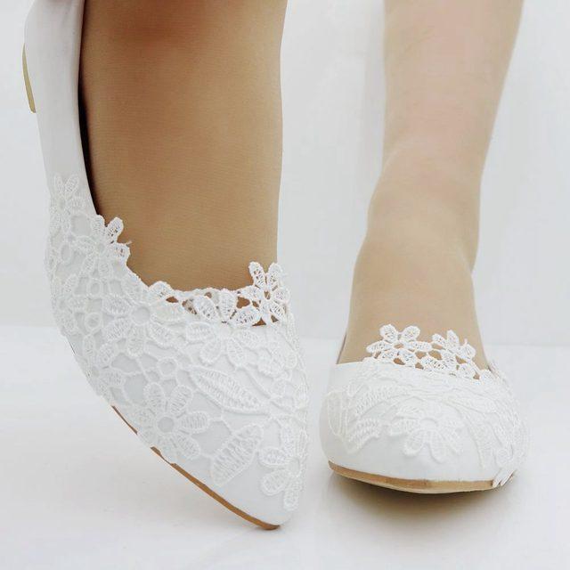 Fashion Ballet Flats White Lace Wedding Shoes Flat Heel Casual Pointed Toe Women Princess Plus Size 41