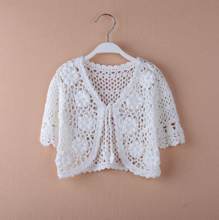 2019 белый открытый кардиган для девочек, пляжная одежда, летний свитер, куртка, пальто для девочек, одежда для детей 1, 2, 3, 4, 6, 8, 10 лет, 185066