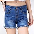 YuooMuoo Мода Старинные Летние Женщины Джинсовые Шорты Регулярный Повседневная Mid-Талия Молния Fly Синий Короткие