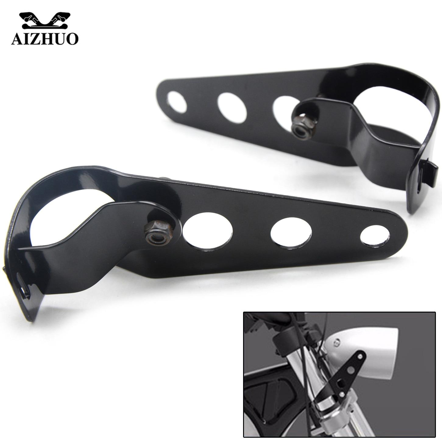 Universal Custom Motorcycle 35mm-43mm hand-made Black Steel Headlight Bracket Turn Lights Bracket For custom-made Retro Vintage