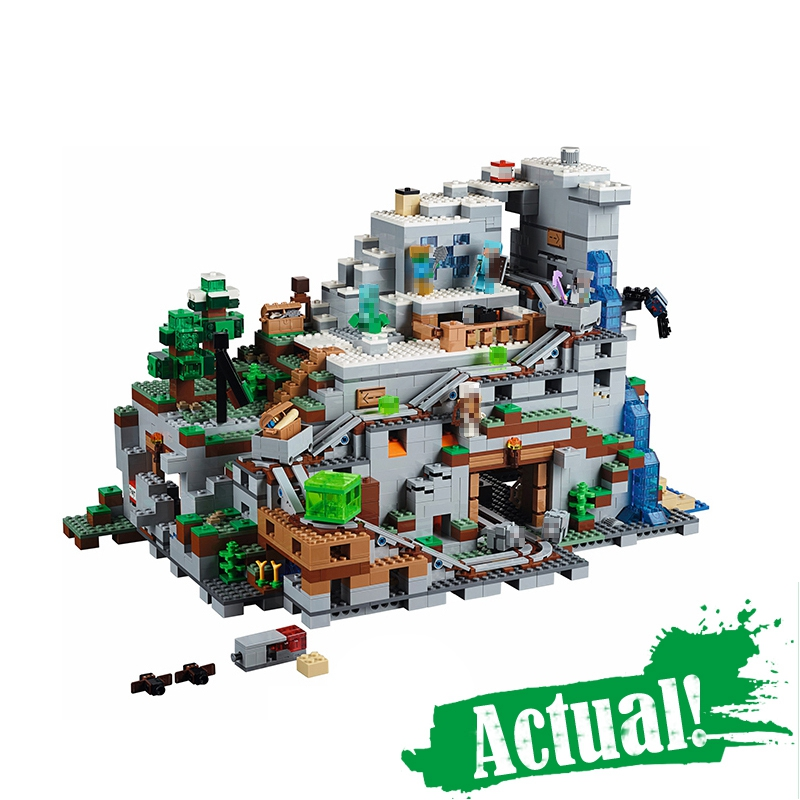 LEPIN 18032 The Mountain Cave Minecraft My World Building Blocks Bricks Toys For Boys oyuncak 2932PCS Compatible legoINGly 21137 lepin minecraft 504pcs the forest secret my world figures building blocks bricks fun castle house toys for children gifts