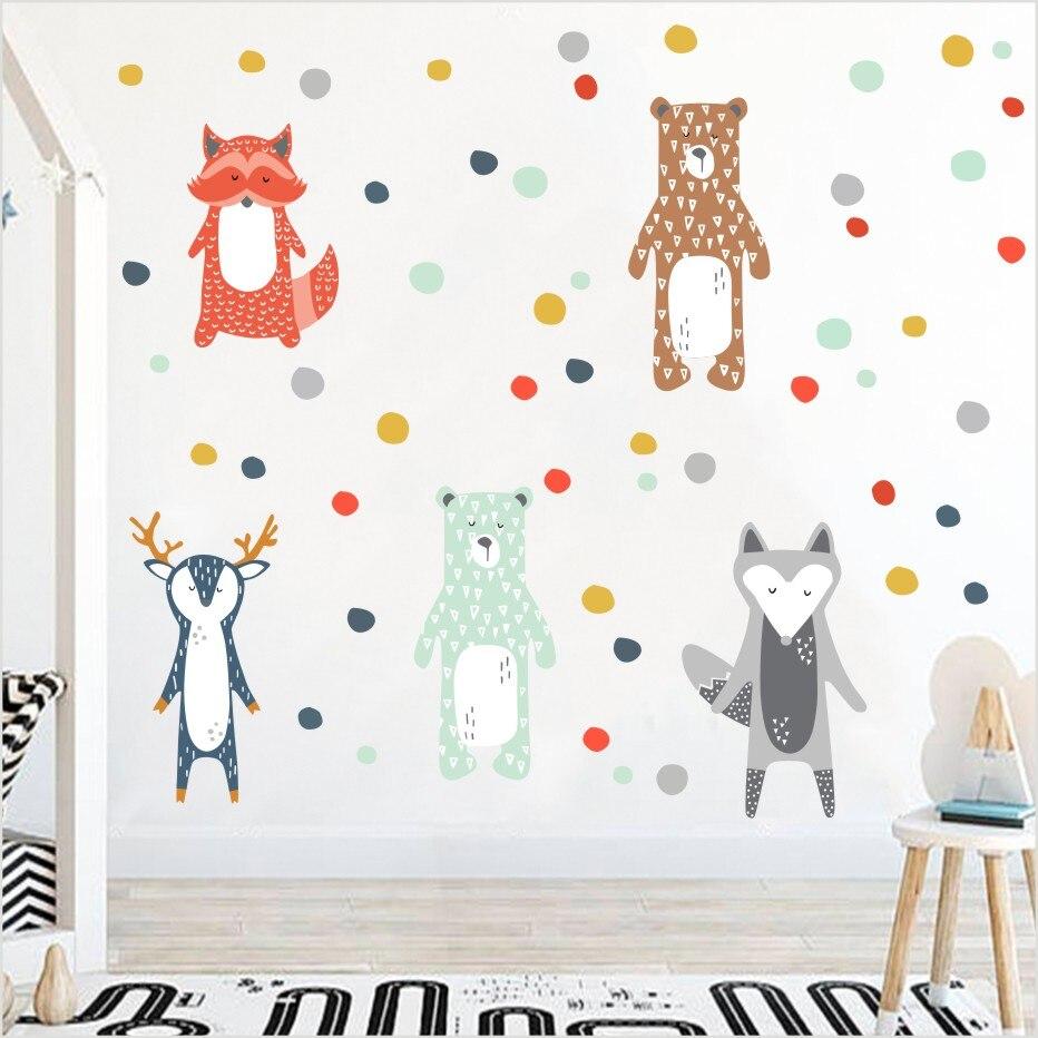 Cartoon Forest Animals Wall Sticker Giraffe Bear Fox Decals Colorful Dots Art Kindergarten For Nursery Room Modern Home Decor