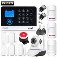 2019 Новый FUERS WG11 WI-FI GSM Беспроводной дома охранной сигнализации Системы приложение Управление Siren RFID детектор движения PIR дым Сенсор DIY Kit