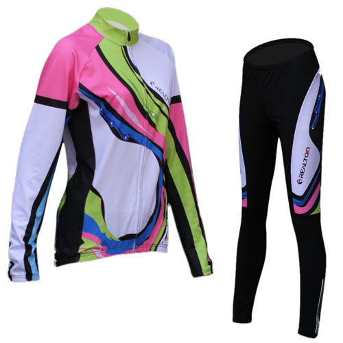 Hot Selling Womens Cycling Sets Autumn And Winter Fleeced Warmer Cycling Jersey+Cycling Pants Breathable Cycling Clothing