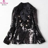 Yuxinfeng 2019 Spring Sequin Blazer Jacket Women Fashion Golden Button Slim Office Ladies Casual Blazers Runway Coat Black