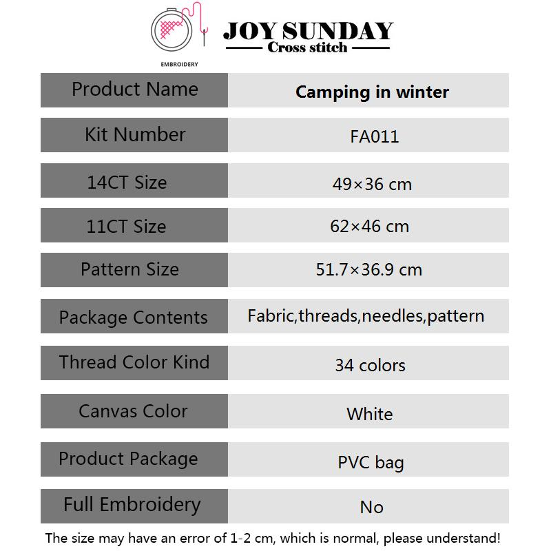 Joy Sunday Camping In Winter Landscape Painting Aida Cross Canvas DIY Cross Stitch Embroidery Kits Needlework Sets DMC Floss Set in Package from Home Garden