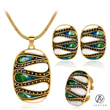 Trendy Oval Colorized Enamel Jewelry Sets Fashion Europe and America Unique Stud Earrings Jewelry Multicolor Women Necklace Sets
