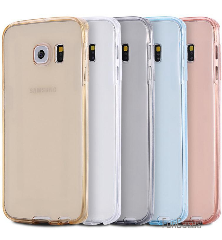 Transparent Clear Full Coverage Case for Samsung Galaxy S6 S7/S7Edge Plus 360 Degree Protective Soft TPU Front back Cover ajax