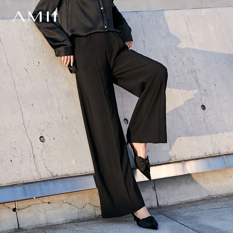 Amii Women Minimalist   Wide     Leg     Pants   2019 Solid High Waist Pleated Female Trousers