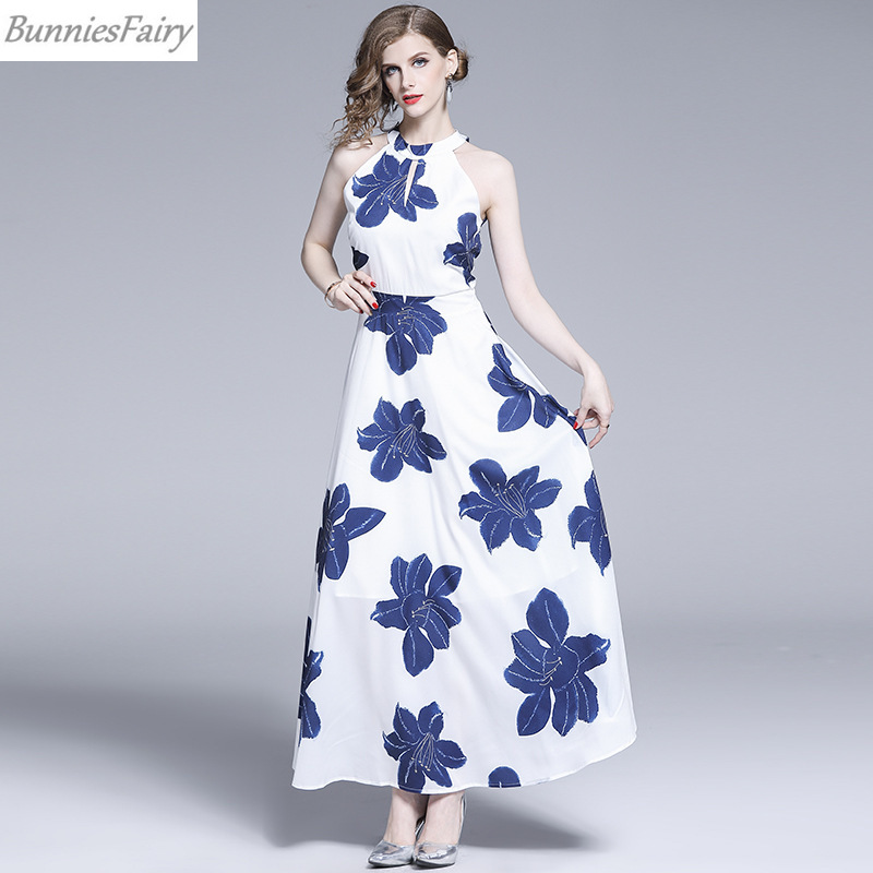 New Blue and White Floral Maxi Dress Halter Neck