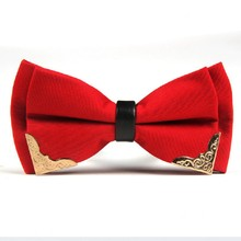 купить Mens bow tie Polyester Adjustable bowknot business wedding party butterfly Solid Metal Decorated Neckwear по цене 217.78 рублей