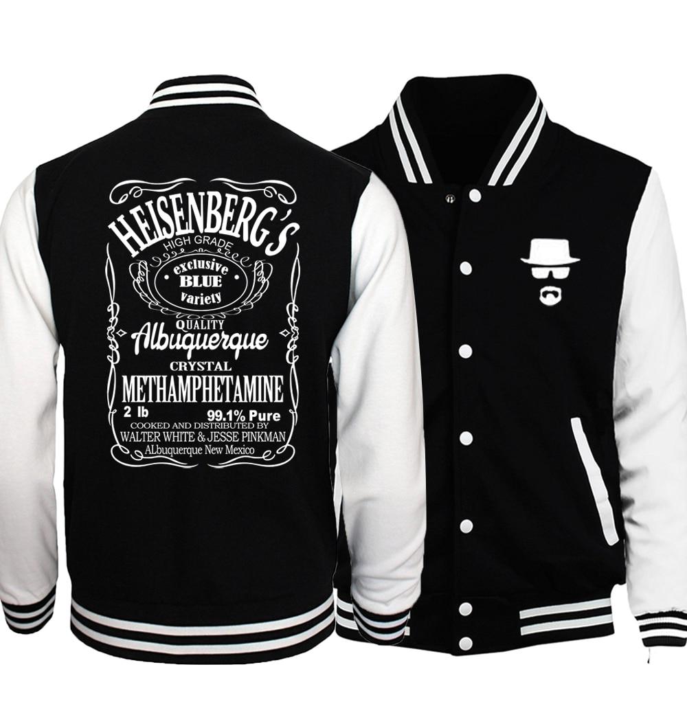 Breaking Bad Heisenberg Jacket Men 2018 Spring Autumn Harajuku Print Baseball Jersey Black White Jackets Mens Plus Size 5XL Coat