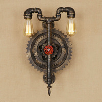 Retro Loft Style Iron Water Pipe Wall Sconce Edison Lamp Wood Gear Industrial Vintage LED Wall Light Fixtures Indoor Lighting