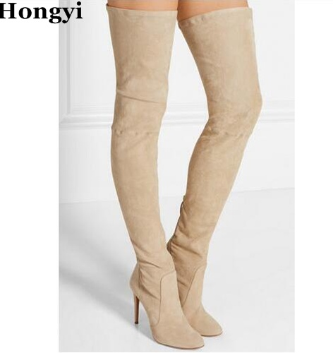Hongyi Winter newest beige suede over the knee high heel boots round toe sexy thigh high boots for woman fashion long boots womens lace up over knee high suede women snow boots fashion zipper round toe winter thigh high boots shoes woman