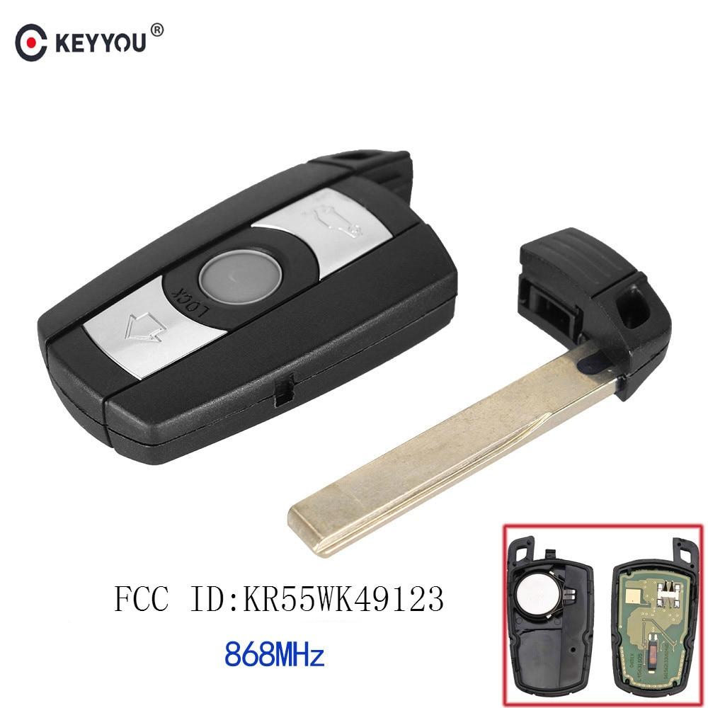 KEYYOU 868MHz 3 Buttons Remote Car Key for BMW E60 E61 E70 E71 E72 E81 E82 E87 E88 KR55WK49123 Smart KeyKEYYOU 868MHz 3 Buttons Remote Car Key for BMW E60 E61 E70 E71 E72 E81 E82 E87 E88 KR55WK49123 Smart Key