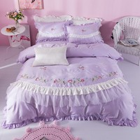 Luxury Princess Lace Ruffle Cotton Embroidery Bedding Set Queen King Size Duvet Cover Bedsheets Pillowcase Beautiful Textiles