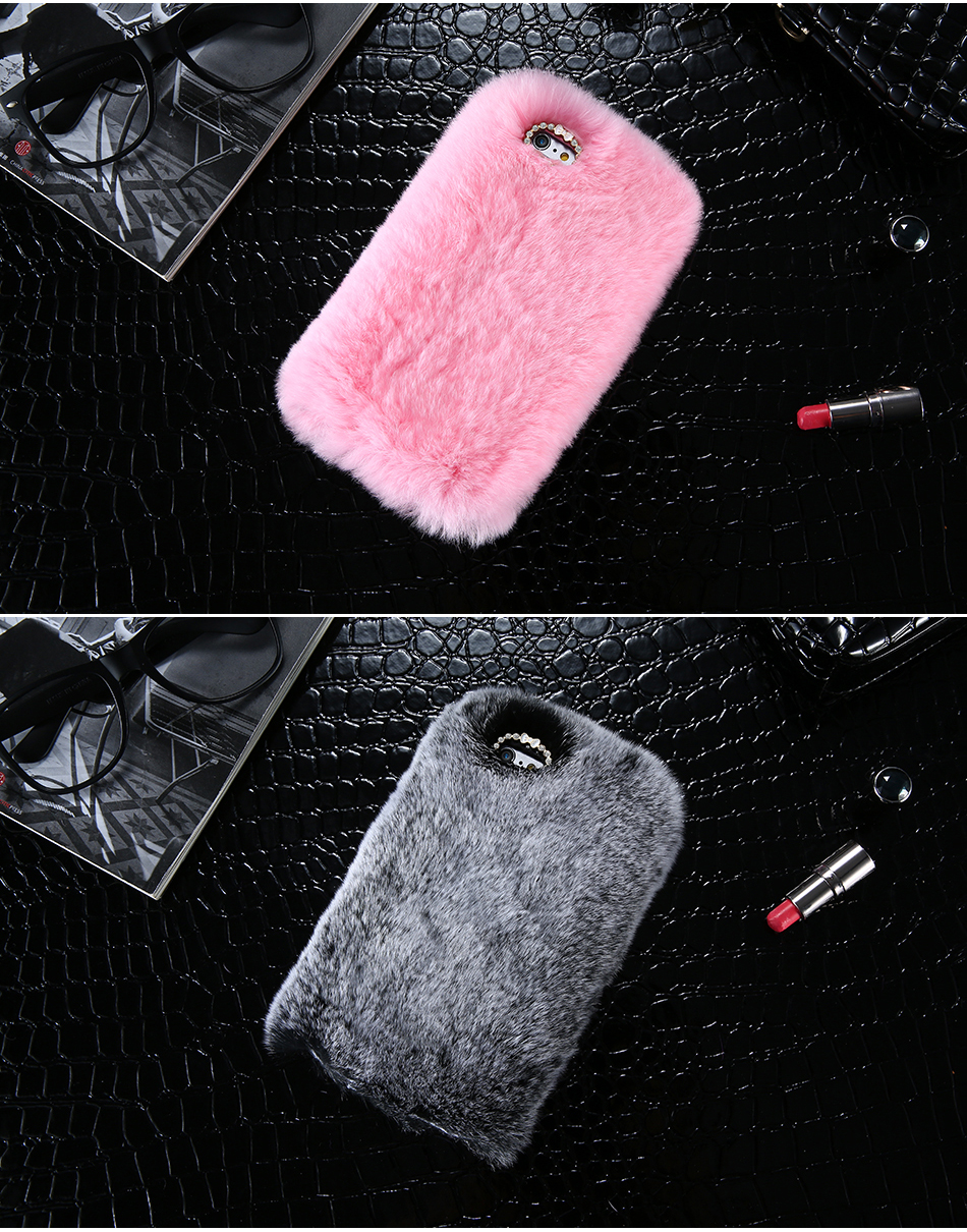 Rhinestone Bling Fluffy Rabbit Hair Case For iPhone 6 6S BOB (9)