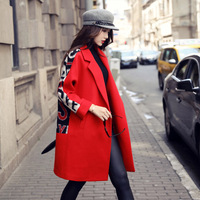 2016 Women Wool Coat Letter Printing Long Winter Woolen Coats Red Black Fashion Casual Wool Peacoats